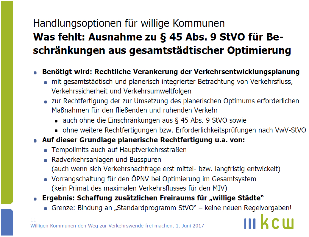 Welche rechtlichen Neuerungen sind notwendig, damit Kommunen die Verkehrswende umsetzen können? (Text & Gestaltung: Dr. Jan Werner)