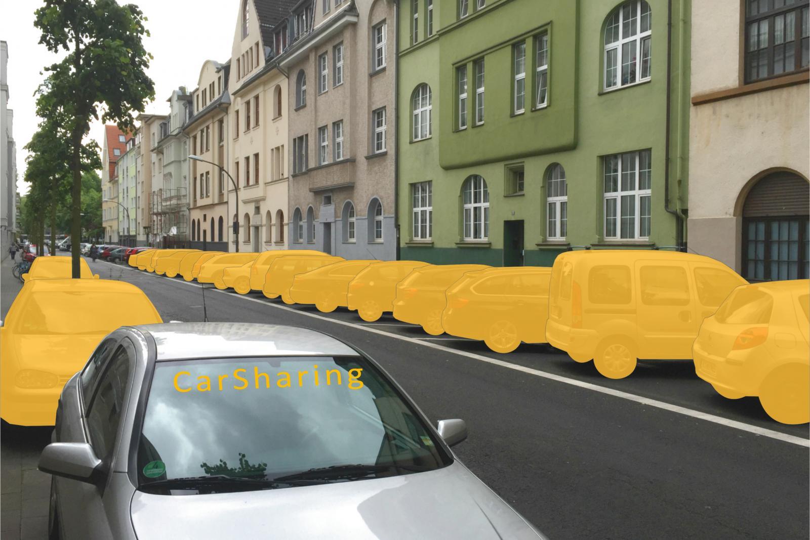 Beispiel Köln-Sülz: Ein CarSharing-Fahrzeug ersetzt hier 19 private Pkw (Bild: bcs)